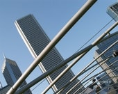 Architecture photography: 8x10 print Chicago business buildings modern architecture urban skyscrapers photo abstract photo blue steel