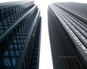 Modern architecture photo: business district in Chicago photo print, downtown city real estate urban skyscrapers architecture photo blue