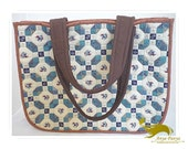 Quilted shoulder bag, hand applique, hand quilted, quilt in blue, 14 x 11.25 x 4.25 inches