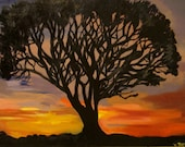 Silhouette Oak Tree - Original Oil and Acrylic Landscape - Sunset Painting w/ Tree Shadow