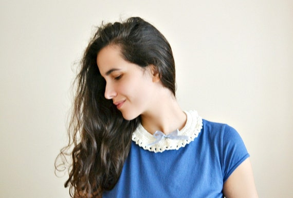 Peter Pan Collar - milk and baby blue candy, crocheted lace collar - detachable - eco cotton