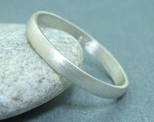 3 mm Handmade Brushed 925K Sterling Silver Designer Half Domed Wedding Band Ring - FREE Sizing and Engraving