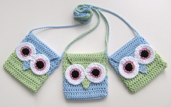 Crochet Pattern Owl purse bag INSTANT DOWNLOAD PDF, girl, long strap, easy, uk and us versions No2
