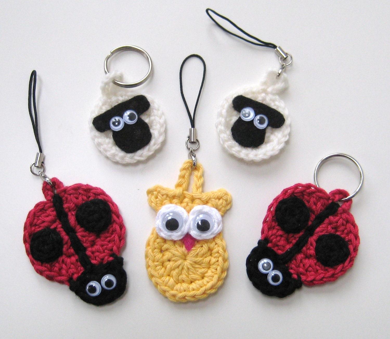 Crochet Pattern keyrings sheep ladybird owl by ...