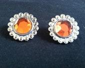 Amber Faux Diamond Stud Earrings