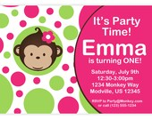 Mod Monkey Invitation - Pink and Green Polka Dots Girl Mod Monkey Personalized Birthday Party Invite - a Digital Printable File