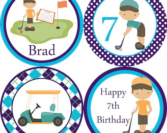 Golf Party Circles - Navy Blue Plaid and Polka Dot Boy Golfer Birthday Party Circles - A Digital Printable File