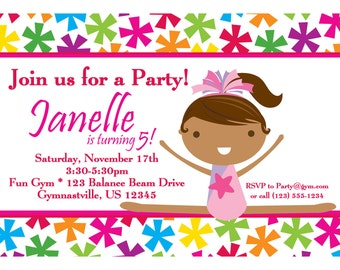 Gymnastic Invitation - Bright Star Girl Gymnast Personalized Birthday Party Invite - a Digital Printable File