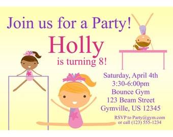 Gymnastic Invitation - Cute Yellow Girl Gymnasts Personalized Birthday Party Invite - a Digital Printable File