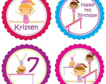 Gymnastic Party Circles - Bright Colorful Scalloped Girl Gymnasts Personalized Birthday Party Circles - A Digital Printable File