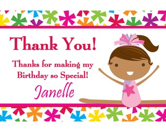 Gymnastics Thank You Card - Bright Star Girl Gymnast Personalized Birthday Party Thank You - a Digital Printable File