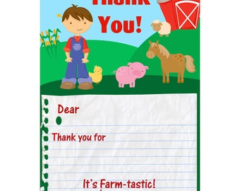 Farm Thank You Card - Handsom Little Farmer Boy and Barn Animals Personalized Birthday Party Thank You - a Digital Printable File