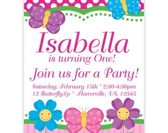 Butterfly Invitation - Pink Polka Dots and Stripes Butterflies and Flowers Personalized Birthday Party Invite - a Digital Printable File
