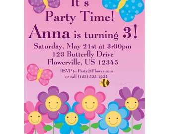 Butterfly Invitation - Pink and Purple Polka Dot Butterflies and Flowers Personalized Birthday Party Invite - a Digital Printable File