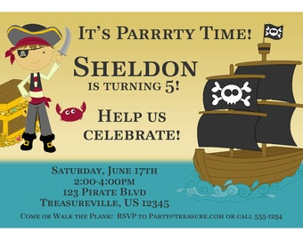 Pirate Invitation - Boy Pirate with Treasure Chest and Pirate Ship Personalized Birthday Party Invite - a Digital Printable File