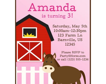 Farm Invitation - Cute Pink and Brown Horse Barn Animal Personalized Birthday Party Invite - a Digital Printable File