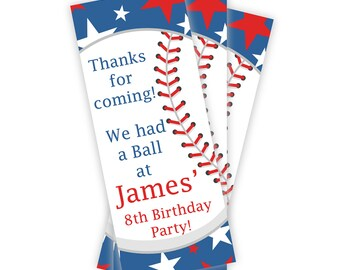 Baseball Party Bookmarks - Red, White, and Blue Star Baseball Ball Personalized Birthday Party Favor Book Marks - A Digital Printable File