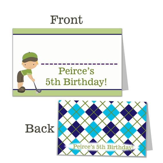 Golf Buffet Cards - Green and Blue Plaid Golfer Boy Birthday Party Name Cards - A Digital Printable File