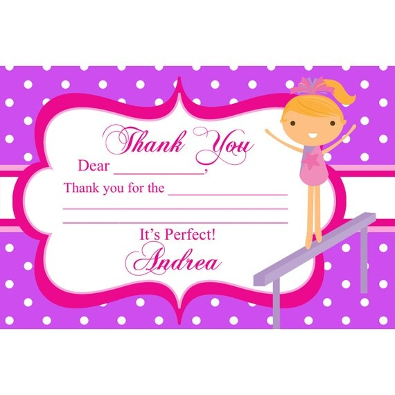 Gymnastics Thank You Card - Purple Polka Dot Girl Gymnast Personalized Birthday Party Thank You - a Digital Printable File
