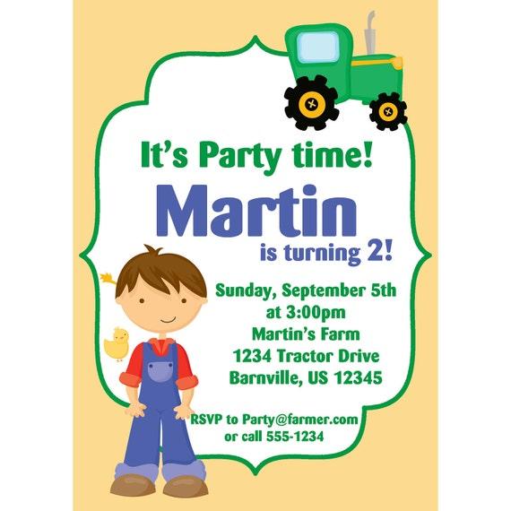 Farm Invitation - Yellow Farmer Boy and Green Tractor Personalized Birthday Party Invite - a Digital Printable File