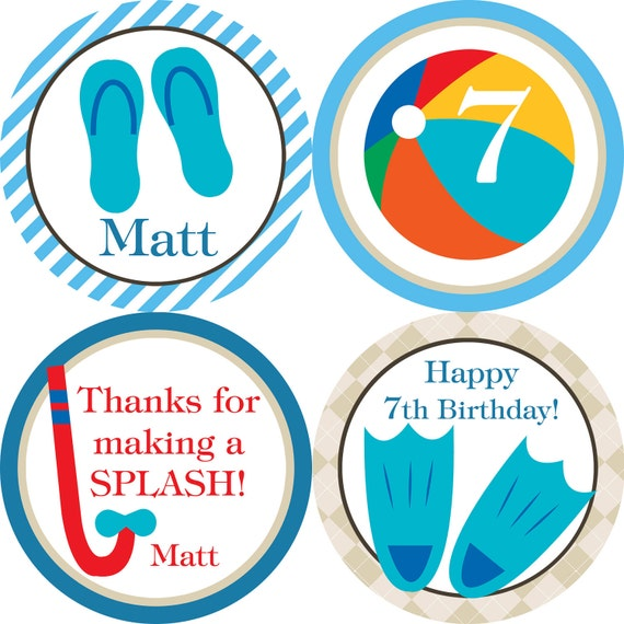 Pool Party Circles - Blue and Tan Water Beach Ball Personalized Birthday Party Circles - A Digital Printable File