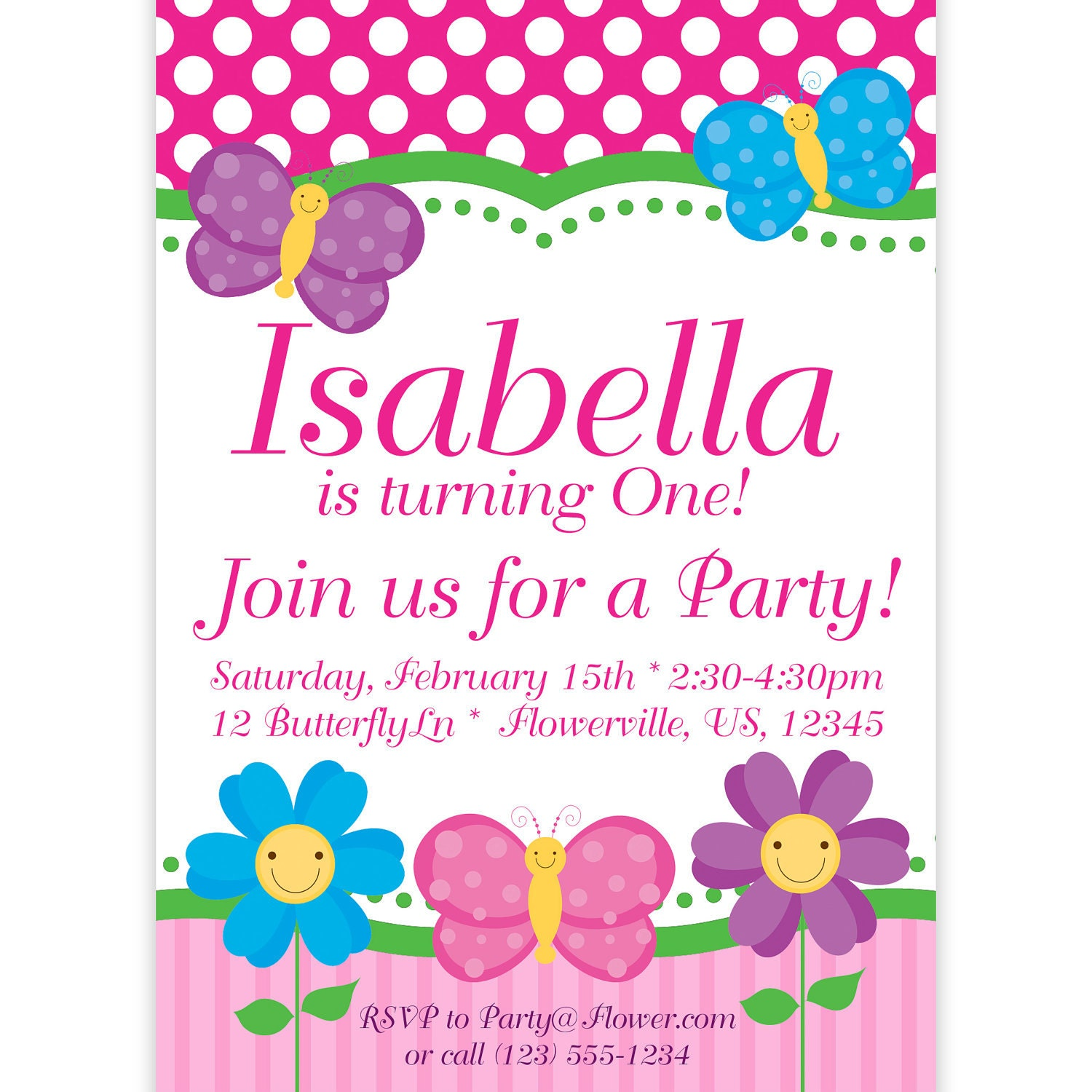 Butterfly Invitation Pink Polka Dots and Stripes Butterflies – Flower Party Invitations
