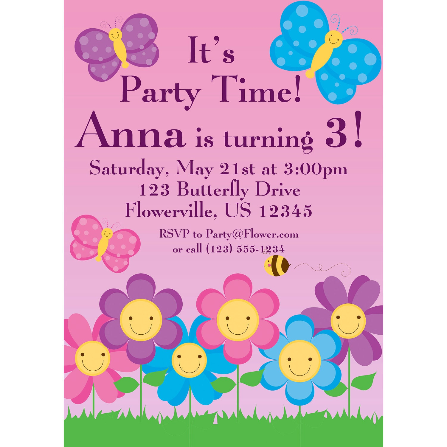 Butterfly Invitation Pink and Purple Polka Dot Butterflies