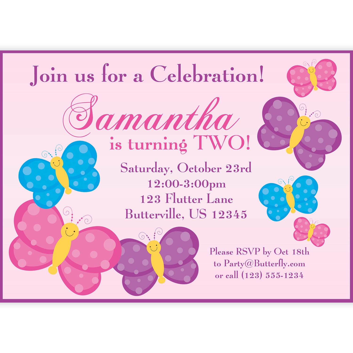 Butterfly Invitation Light Pink and Purple Butterflies