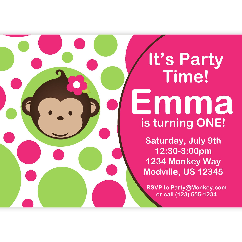 Personalized Oversized Birthday Banner - Party Monkey Girl - Birthday Gift Mod Monkey Invitation Pink