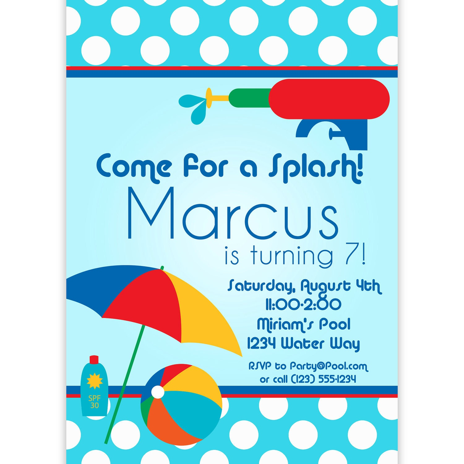 Pool Party Invitation Blue Polka Dots And Red Water Squirt