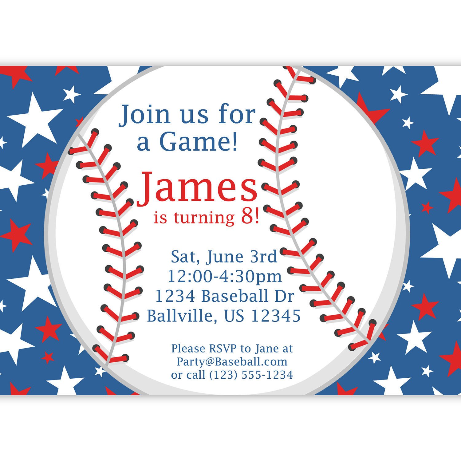 Baseball Party Invitation Red White and Blue Star Baseball