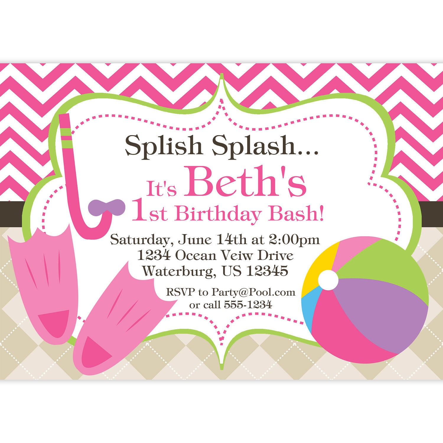 Pool party invitation pink chevron and tan argyle beach zoom stopboris Gallery