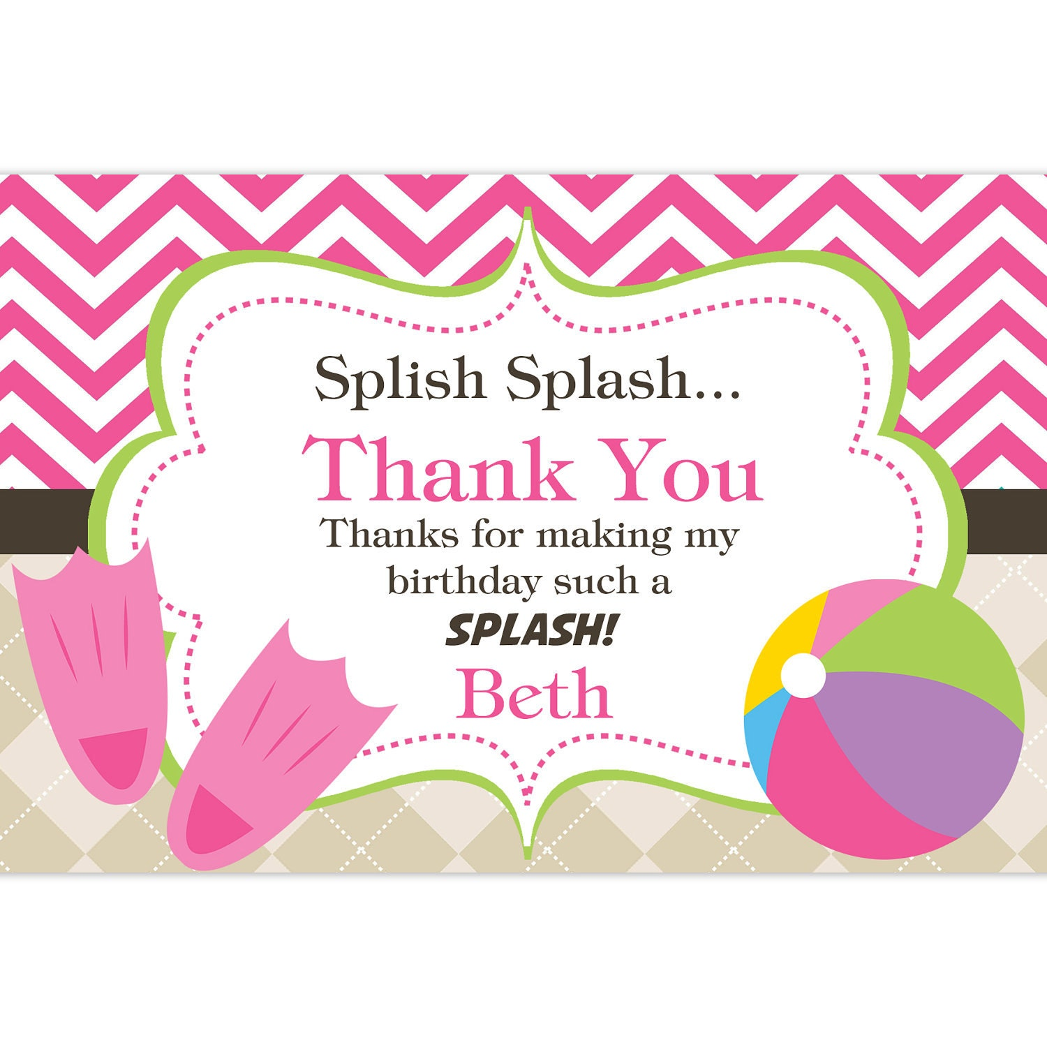 Pool Party Thank You Card Hot Pink Chevron And Tan Argyle