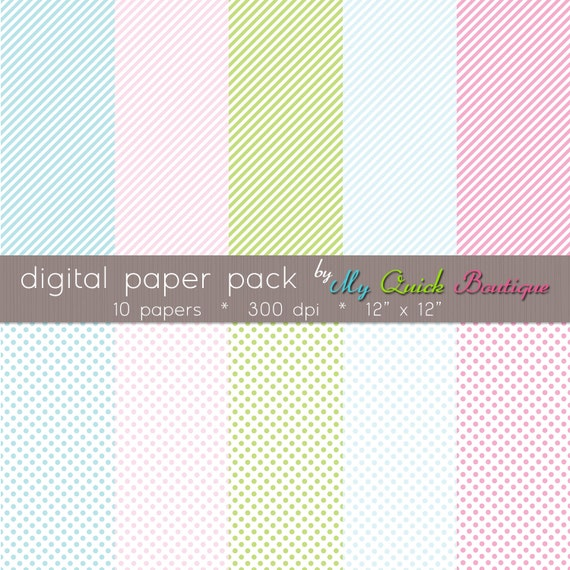 Digital Scrapbook Paper - Personal and Commercial Use - Print and Seamless Tile Web Files - Cotton Candy Mini Stripe & Mini Dot