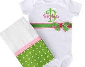 custom monogrammed onesie and burp cloth shower gift set  girl made to order
