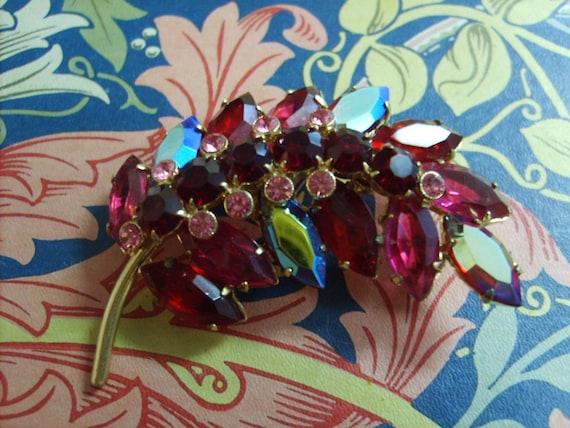 Vintage Czech crystal brooch