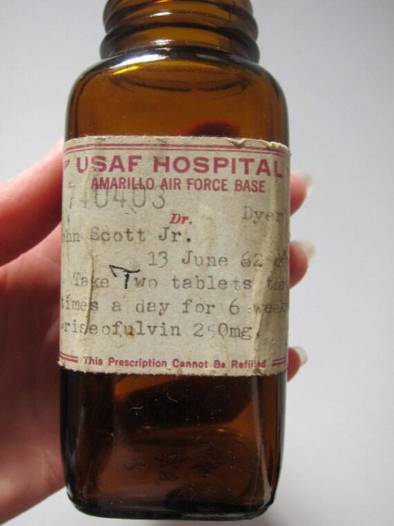 Vintage Prescription Pill Bottle, Brown Glass, USAF
