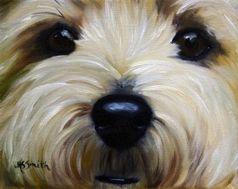 PRINT Cairn Terrier Dog Puppy Art  Painting gift for dog lover  / Mary Sparrow  of hanging the moon studio
