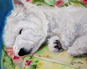 PRINT Westie West Highland Terrier Dog Puppy Art Oil Painting / Mary Sparrow of hanging the moon