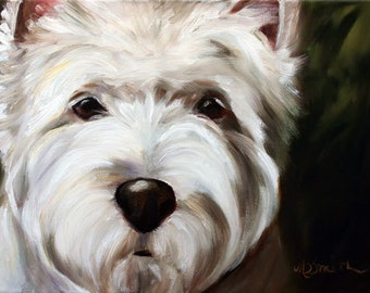 PRINT Westie West Highland Terrier Dog Puppy Art Oil Painting Decor / Mary Sparrow Smith