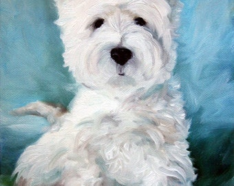 PRINT Westie West Highland Terrier Dog Art Oil Painting Home Decor Gift Ideas / Mary Sparrow