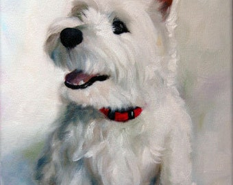 PRINT White Westie West Highland Terrier Dog Art Print Oil Painting Smiley Face / Mary Sparrow