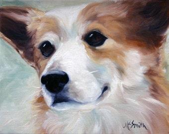 PRINT Pembroke Welsh Corgi Dog Art Oil Painting / Mary Sparrow