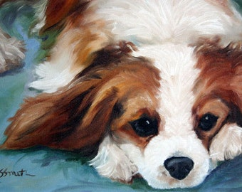 PRINT Cavalier King Charles Spaniel Dog Puppy Art Print Oil Painting Gift / Mary Sparrow