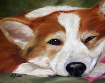 PRINT Pembroke Welsh Corgi Dog Art Oil Painting / Mary Sparrow of hanging the moon