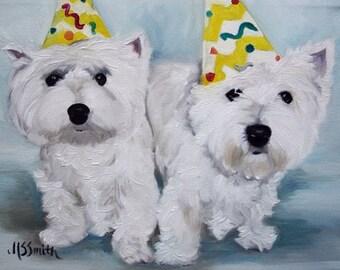 PRINT Westie West Highland Terrier Dog Art Oil Painting Happy Birthday / Mary Sparrow