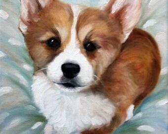 PRINT OF Pembroke Welsh Corgi Puppy Dog Art Oil Painting / Mary Sparrow