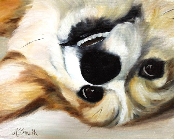 PRINT Pembroke Welsh Corgi Dog Puppy Art Oil Painting Home Decor Gift Ideas / Mary Sparrow Smith