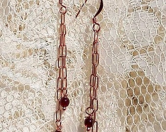 Garnet with Vintage Copper Chain Earrings
