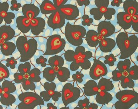 "Amy Butler Fabric cotton fabric - Lotus - Morning Glory, color ""linen"", red, blue: 1 yard"